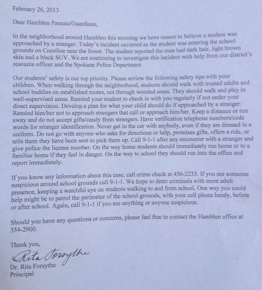 This was the letter sent home to parents