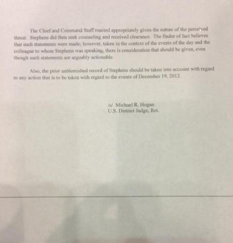 Letter above is a report of the investigation