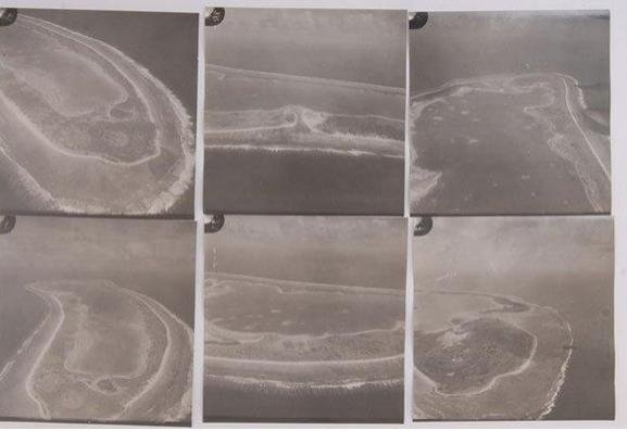 A contact sheet of photos with aerial images of Nikumaroro, the island where Amelia Earhart and her navigator are believed to have survived for a time as castaways.