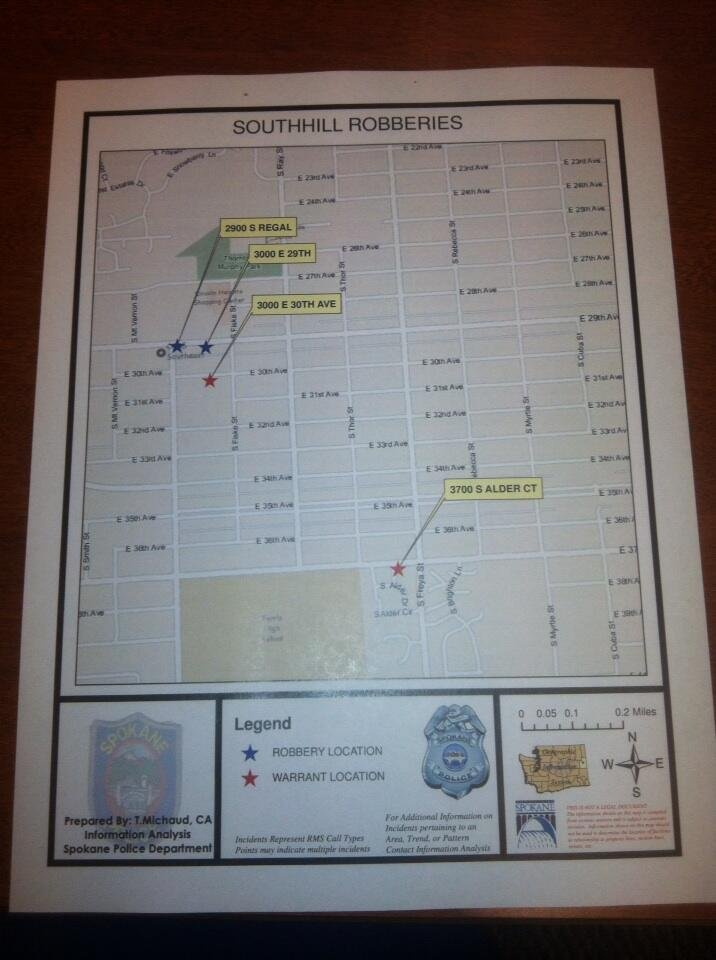 This map from Spokane PD shows the 2 robberies in relation to 2 of Monday's 3 warrants.