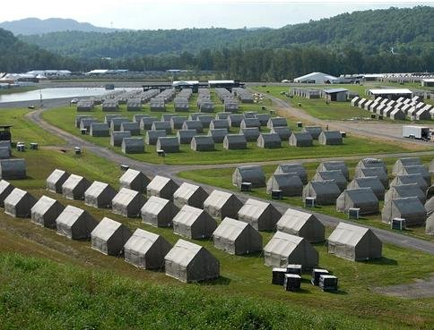 The tents below will house staff members at the Summit Bechtel Family National Scout Reserve in Glen Jean, W. Va.