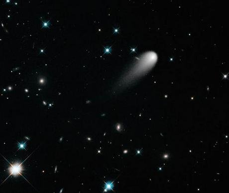 This image of Comet ISON was captured by the Hubble Space Telescope on April 30, when the comet was about 400 million miles from Earth.