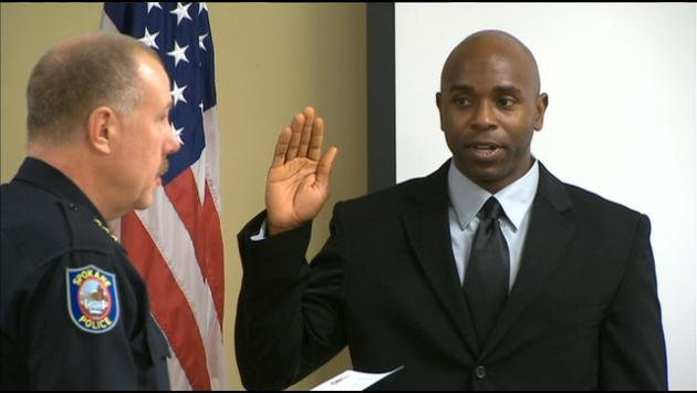 Former Gonzaga basketball player Winston Brooks was sworn in by Spokane Police Chief Frank Straub on Tuesday