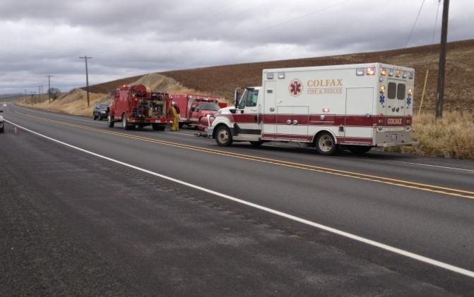 Crash scene south of Colfax on Hwy. 195, at least one person was killed