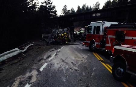 At least one person has been killed in a collision involving two semi trucks on Highway 20, 10 miles north of Cusick in Pend Oreille County, according to the Washington State Patrol.