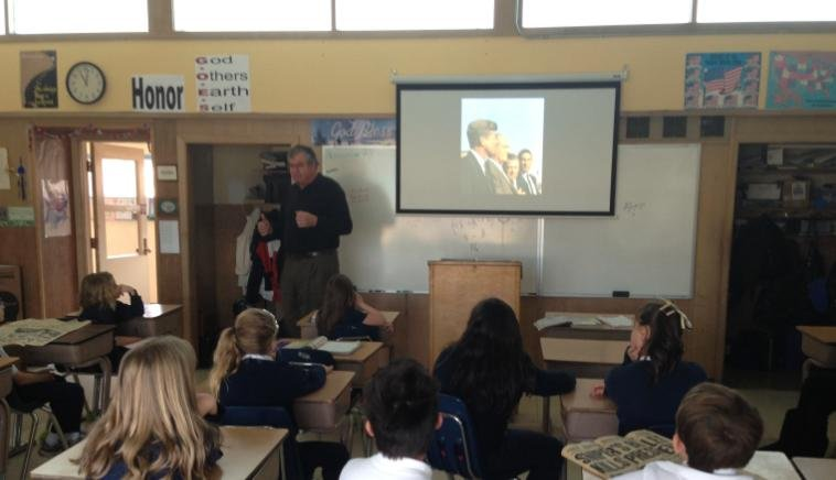 Photo from Friday of Spokane students learning about JFK's assassination