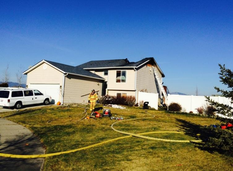 Photo of house fire in Post Falls on Thurs.