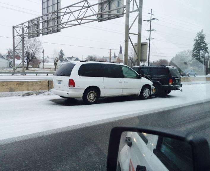 Photo of a crash taken Friday on I-90 at the Altamont exit in the eastbound lanes.