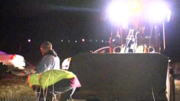 A pickup truck crashed through a chain-link perimeter fence Sunday night at Fairchild Air Force Base.