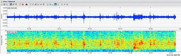 Seismometer image from Monday night.