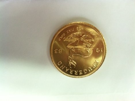 The back of the South African Krugerrand