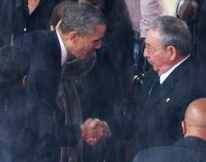 Briefly laying aside differences hardened over decades, President Barack Obama on Tuesday shook the hand of the president of Cuba at the memorial service for Nelson Mandela.