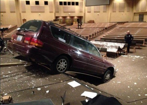Police arrested David Evans after they say he crashed his car through a wall at Life Center Church