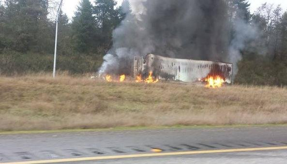 The Washington State Patrol says one person has been killed in a fiery crash that blocked the southbound lanes of Interstate 5 south of Tacoma near DuPont.