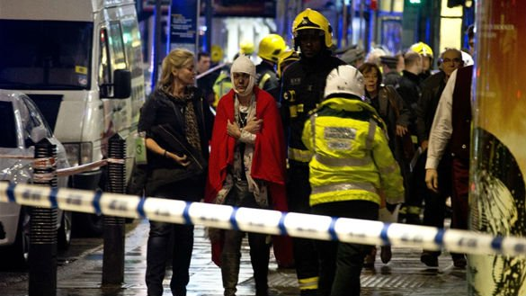 More than 80 people were injured following the collapse of a theater in London