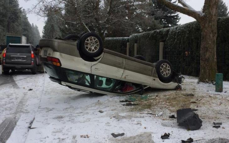 Late Monday morning emergency crews responded to a single vehicle rollover crash on Spokane's South Hill in the 4500 block of S. Scott.