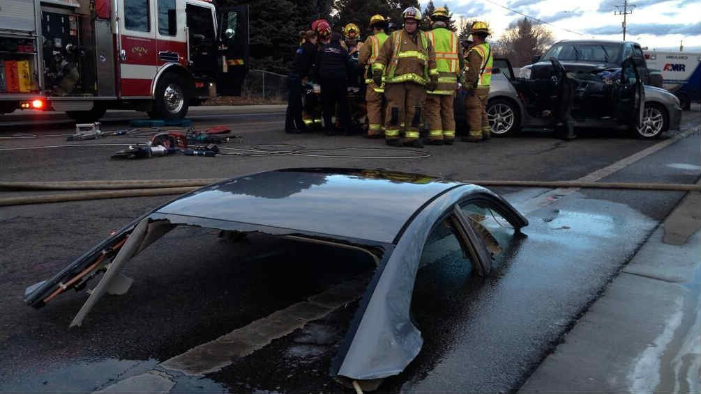 Firefighters had to cut the roof off of a car to get the driver out following a crash in Spokane Valley Friday afternoon