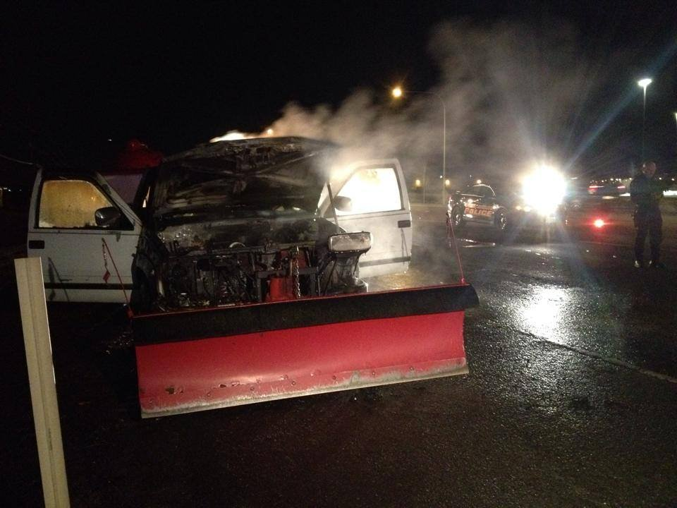 A truck caught fire on Highway 2 Monday evening in Airway Heights