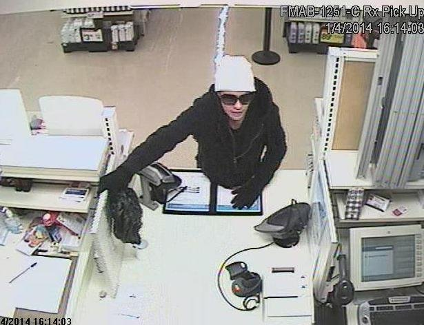 On Saturday, January 4th, 2014, at about 3:30 p.m., Spokane County Sheriff's Deputy Tim Greenfield responded to Sav-On Pharmacy inside of the Albertson's store at 12312 N. Division on a robbery call.