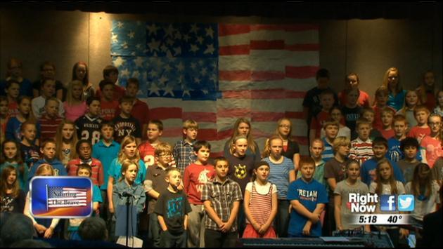 Meadow Ridge Elementary School kids salute the brave