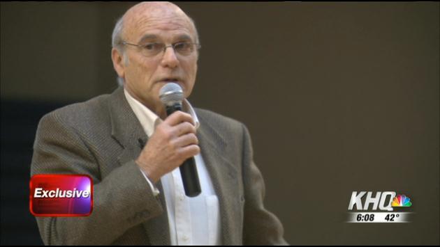 Holocaust survivor Pete Metzelaar speaks to students at Freeman High School on Wednesday