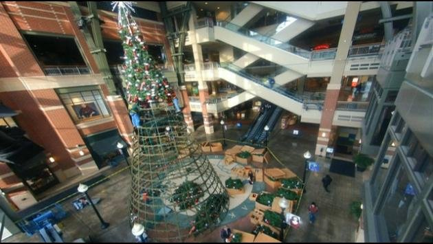 The River Park Square Christmas Tree is brought out of storage every year and assembled in about 3 days