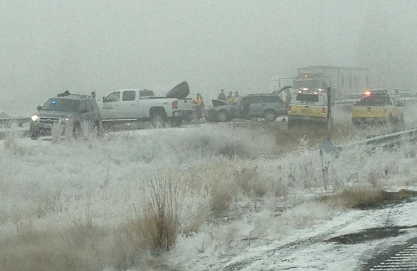 Photo of deadly crash on Wednesday morning on I-90 near Medical Lake