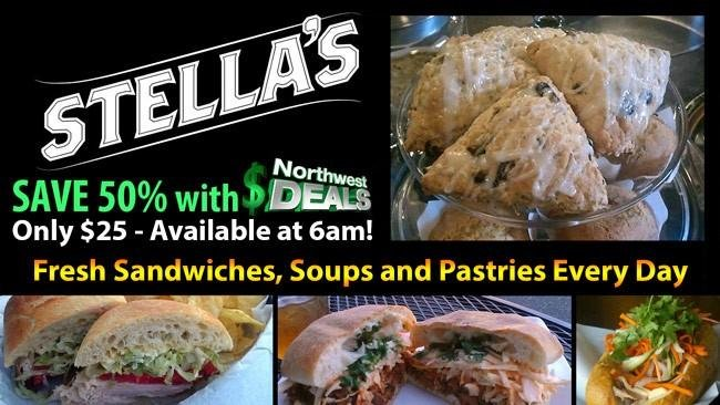 KHQ NW Deals: Stella's Cafe - Fresh sandwiches, soups and pastries every day! Only $25 for $50 in food and beverages!