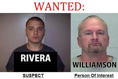 Jose Rivera (left) was arrested in Moses Lake Thursday. Gilbert Williamson (right) is still wanted as a person of interest