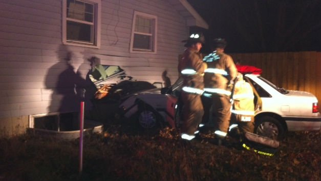 A car slammed into a house near Maple and Joseph Thursday night