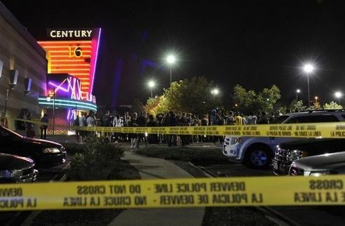 Aurora theater parking lot after the 2012 shooting that killed 12 & injured 70 others.