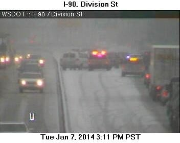 A multiple car collision blocked the westbound lanes of I-90 near Division St. Tuesday afternoon
