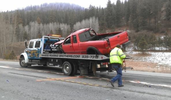 The person driving this truck was transported to the hospital with serious injuries.