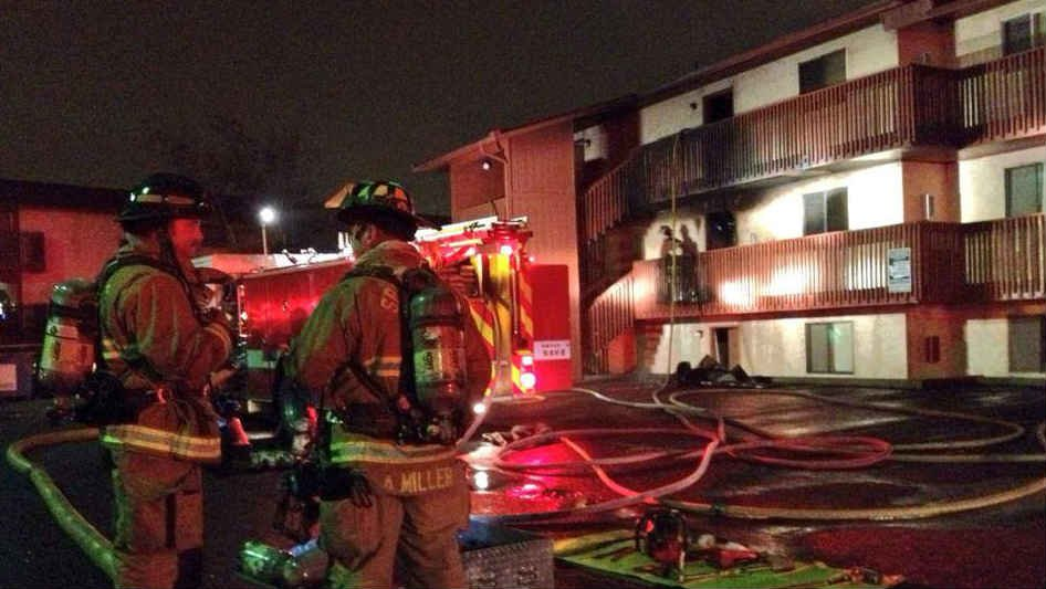 Two people were taken to the hospital for smoke inhalation following a fire at the Center Court Apartments Monday night