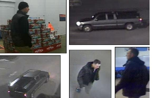 Post Falls Police say the men in these pictures burglarized two Walmarts in Post Falls on the same day and left in the pickup truck pictured