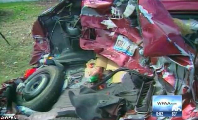 A picture of the Khader's car after Stewart Richardson rear ended them with a blood alcohol level more than 3 times the legal limit.
