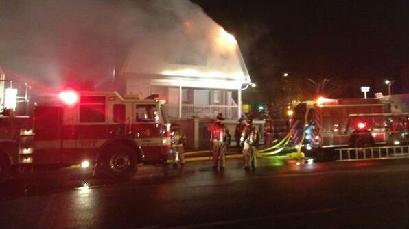 Spokane firefighters battled a fire at an apartment complex in the 1000 block of W. Boone Friday night