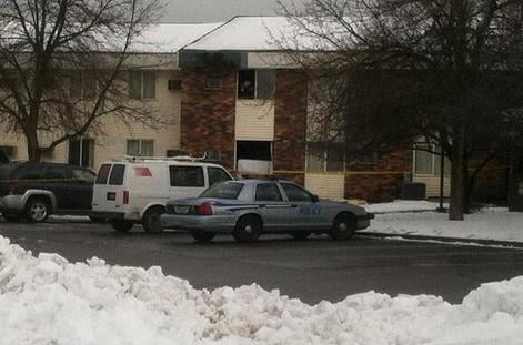Window where early stand-off took place at Valley Motel 6 - suspects used mattress as barricade