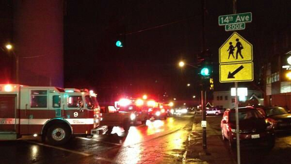 A woman was taken to the hospital Wednesday night after being hit by a pickup truck at 14th and Grand.