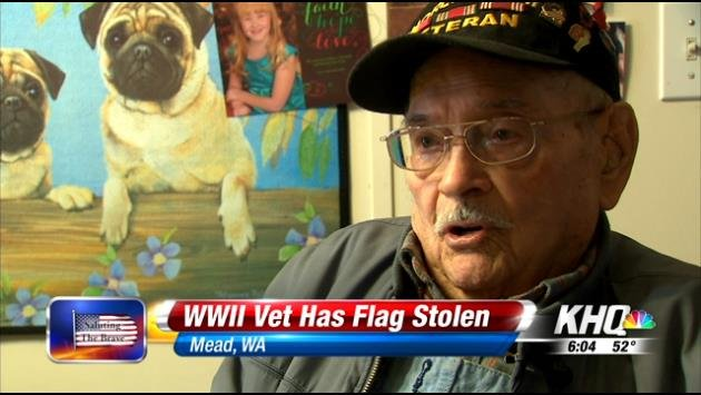 KHQ received a call from a veteran named Larry Sheets who said he had been a victim of theft. But the thieves didn't steal just anything, they stole a reminder of his service to this country: his American flag.