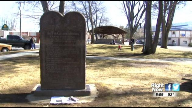KHQ.COM - A Ten Commandments monument sits in Farmin Park in Sandpoint, but perhaps not for long.
