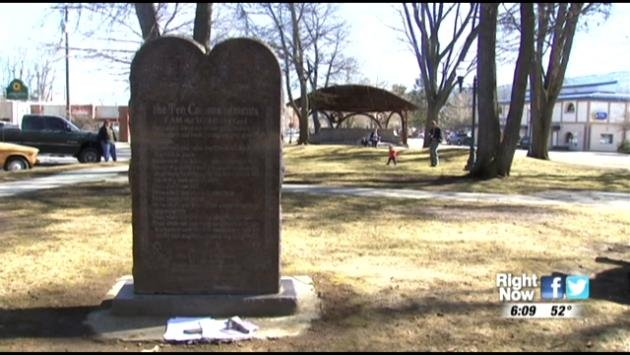 KHQ.COM - A Ten Commandments monument sits in Farmin Park in Sandpoint, but perhaps not for long.