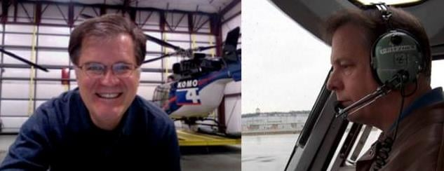 KOMO photographer Bill Strothman (left) and pilot Gary Pfitzner perished in the helicopter crash in Seattle on Tues.