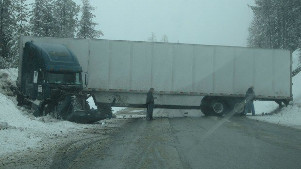 A jackknifed semi-truck completely blocked Sherman Pass on Friday (PHOTO Todd Cutler)