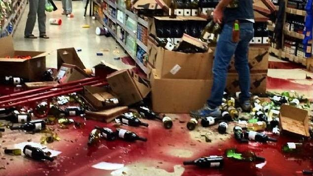 A wine display at Trader Joe's takes a spill when a 5.1 earthquake shook the L.A. area Friday night (PHOTO NBC)