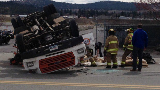 Medics and police responded to the area of Broadway and Lily in Spokane Valley Thursday afternoon following a rollover crash.
