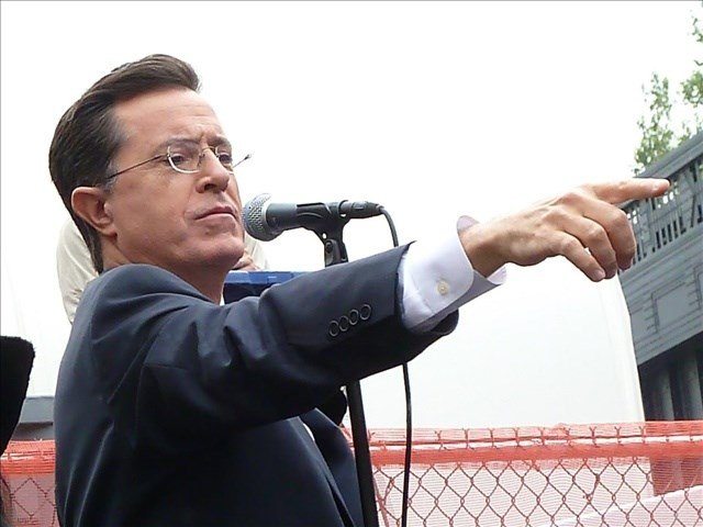 Stephen Colbert in New York before singing the National Anthem with Jack White. Photo Credit: Courtesy of The G