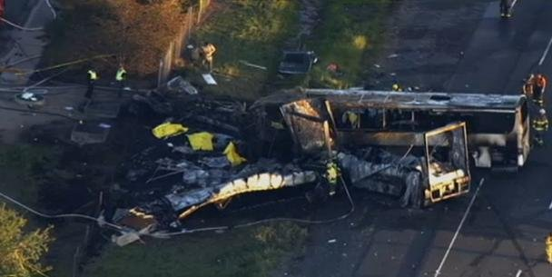 The California Highway Patrol says the drivers of a FedEx delivery truck and a charter bus carrying high school students on a college visit are among the 10 people who were killed in a fiery crash on a Northern California interstate.