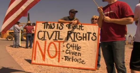 Crowds in Clark County, Nevada are protesting the Bureau Of Land Management impound up to 1000 cows they say are trespassing on federal land.
