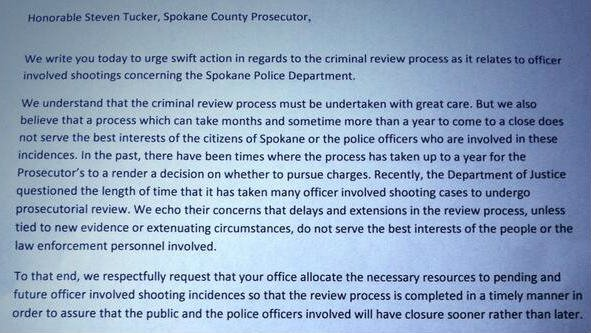 This letter was sent to Spokane County Prosecutor Steve Tucker by the Spokane City Council asking for quicker reviews of Officer Involved Shooting cases